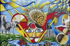 Horn-Of-Plenty_Cornucopia_Jurita_2020_acrylic_coins_gold_41x56cm
