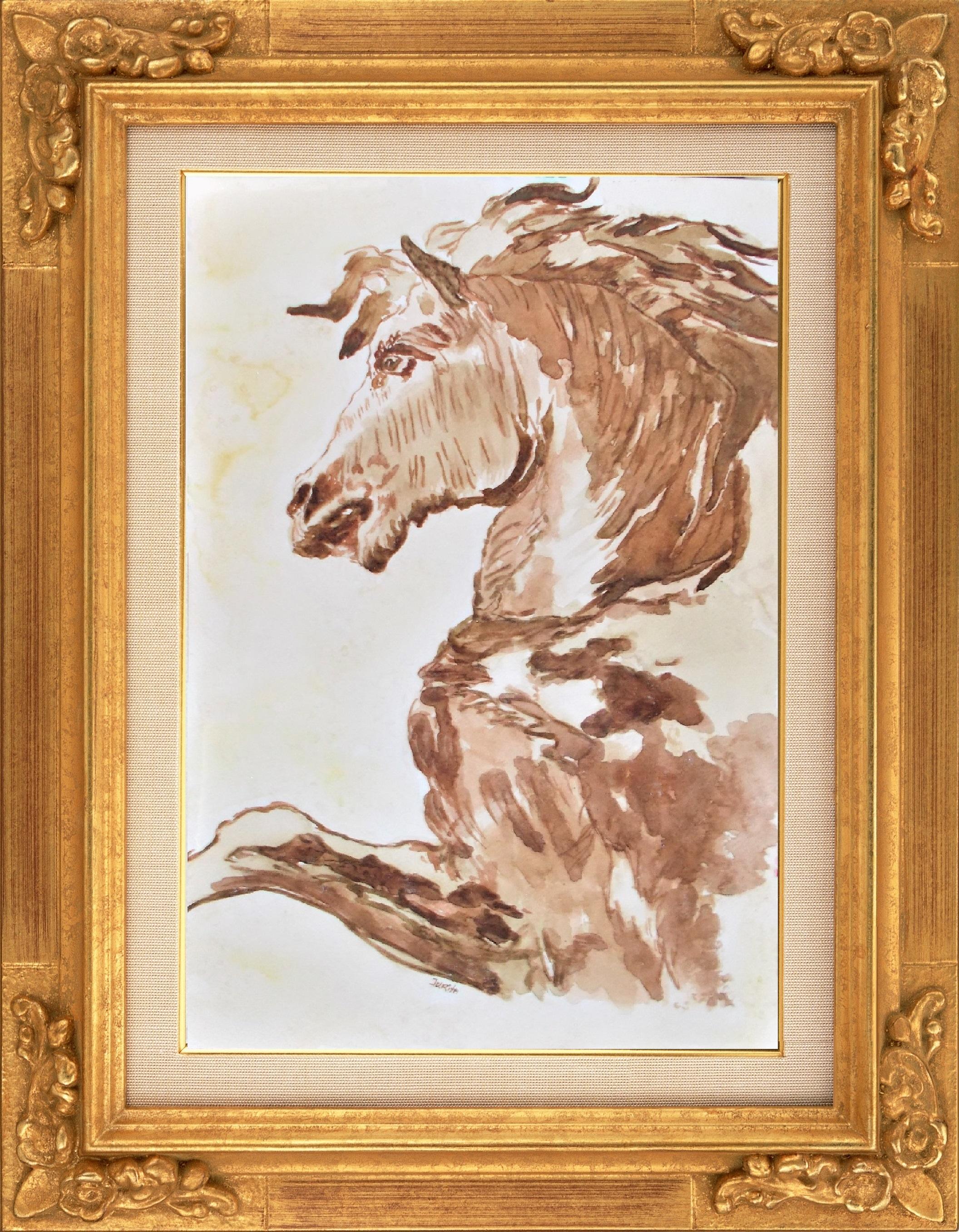 17 Horse in Profile_by Jurita Kalite (Kalitis)_watercolor © J Kalite 2017_www.LadyJuGallery.co.uk (4)