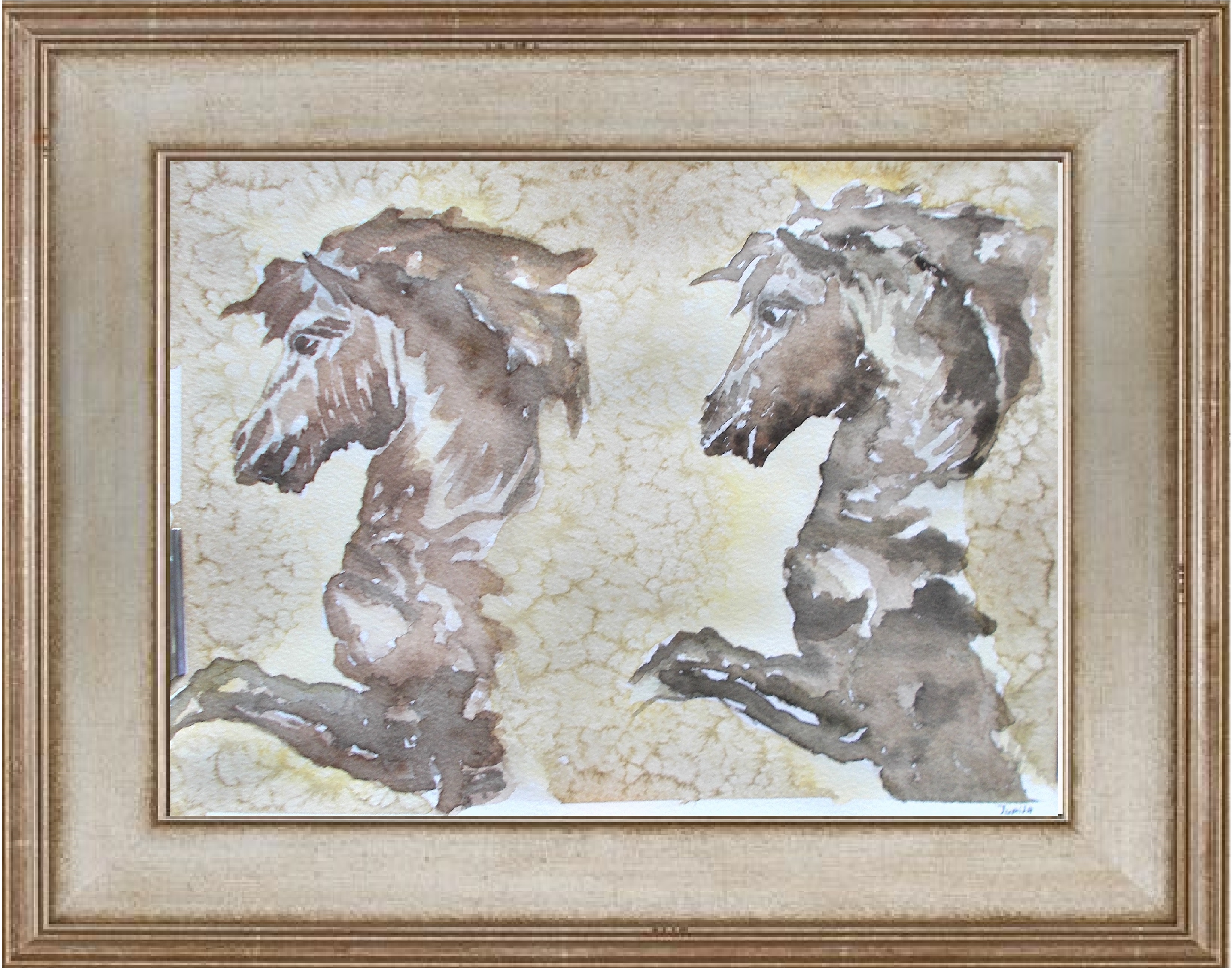 TWO BEAUTIFUL WILD HORSES IN PROFILE BEFORE GALLOPING-jurita-watercolor (2)