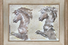TWO BEAUTIFUL WILD HORSES IN PROFILE BEFORE GALLOPING-jurita-watercolor (2)