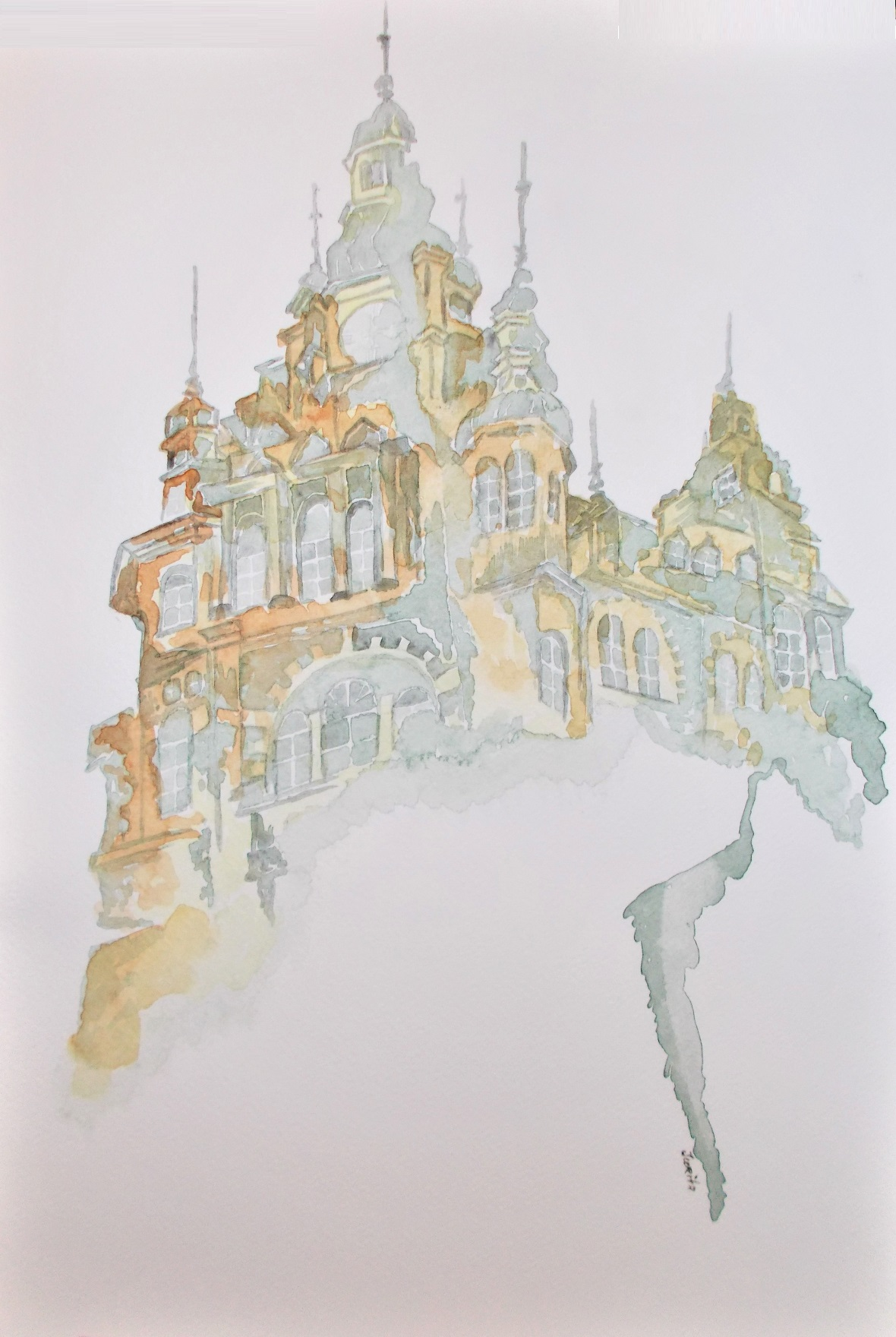 Gothic Cathedrals Dream, Jurita, 2017, watercolor, 42 x 29 cm