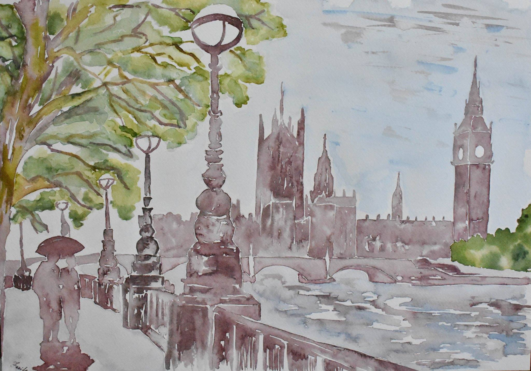 View of the Thames and Parliament UK in London, Jurita, 2017, watercolor, 42 x 29 cm
