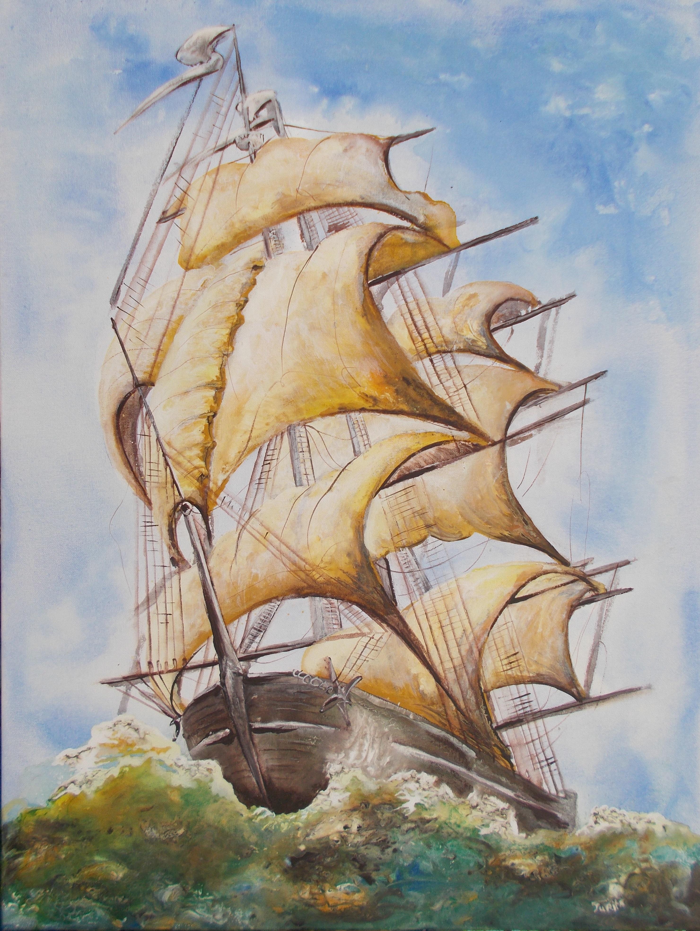 My child's dream sailboat on the waves-jurita-acrylic on canvas-80x60cm-26 april 2020© (2)