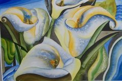 Calla Lilies In Blue Painting watercolor painting sign by Jurita Kalite (1)
