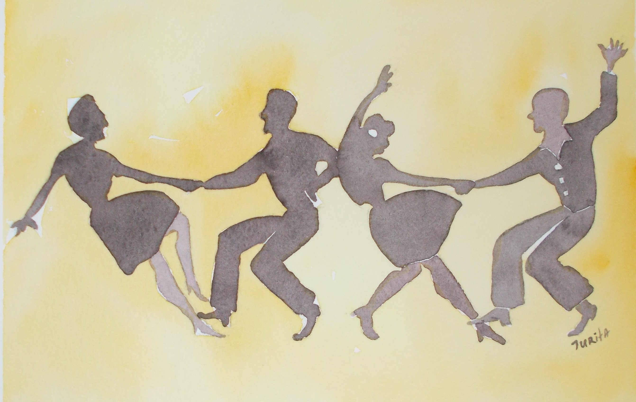 Jazz dance of four, Jurita Kalite, 2017, Watercolor