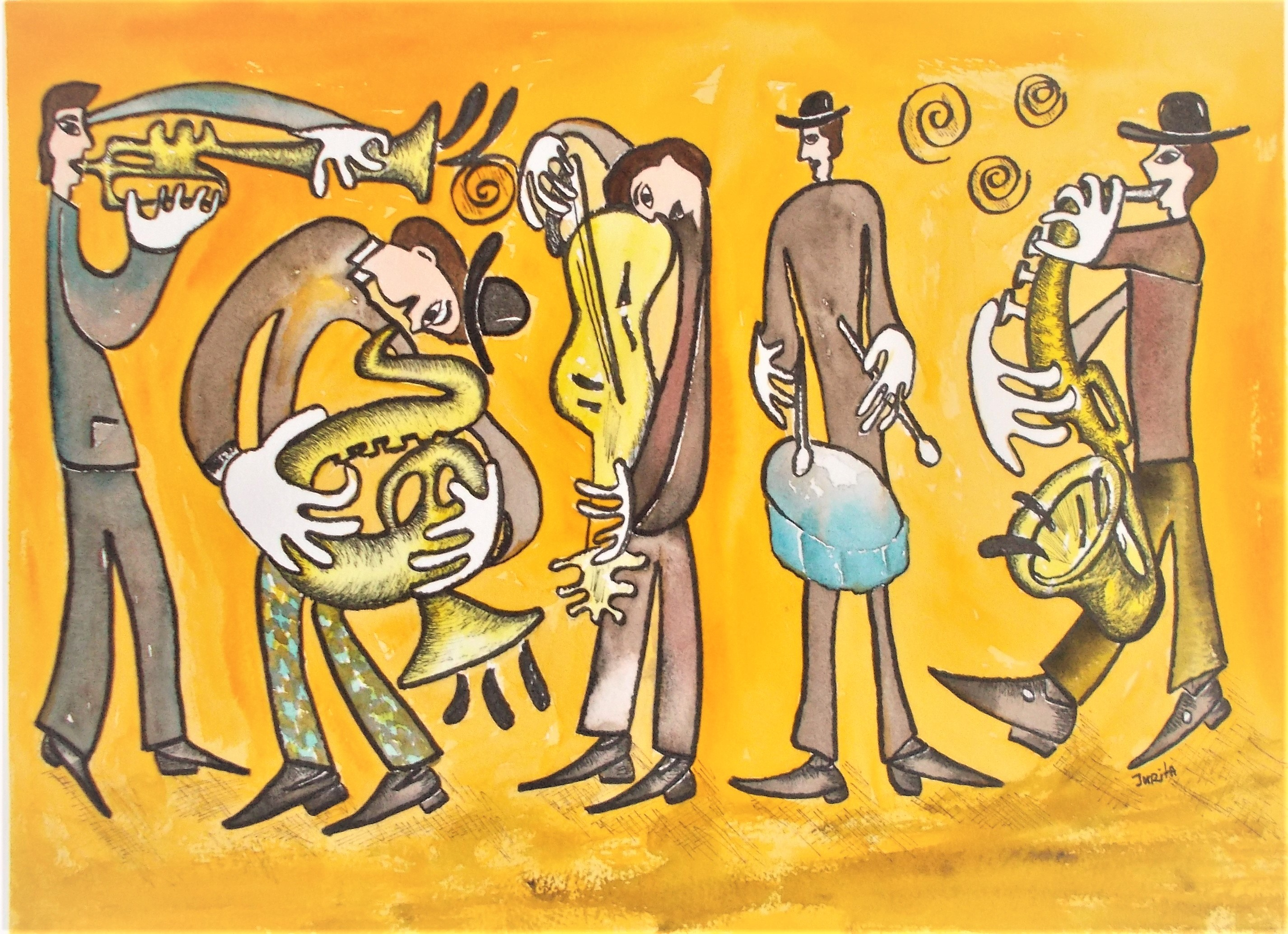 Jazz Band, Jurita Kalite, 2017, Watercolor, 31 x 41 см