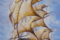 My child's dream sailboat on the waves, Jurita, 26/04/2020,  acrylic on canvas, 80x60cm