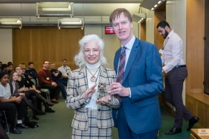 Jurita Kalite received award from The Rt Hon Stephen Timms MP