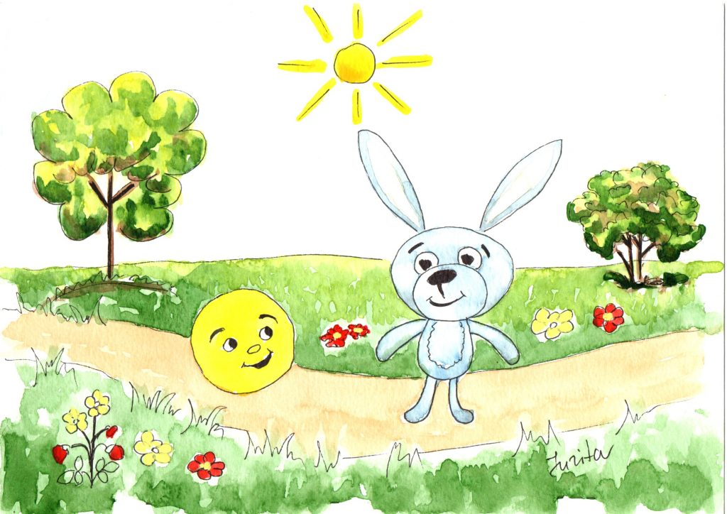 The bun runs along the road and meets a hare. «Little bun, little bun, I want to eat you!» says the hare. «I ran away from Grandfather, I ran away from Grandmother. And I can run away from you, little hare!» says the bun and runs away.