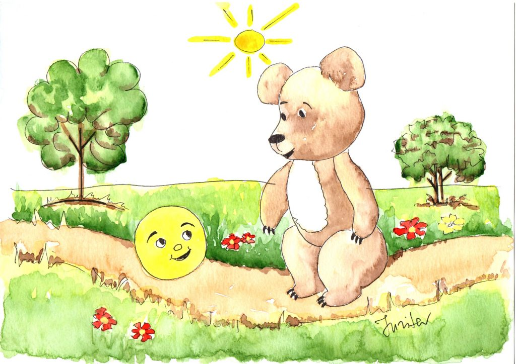The bun runs along the road and meets a bear. «Little bun, little bun, I want to eat you!» says the bear. «I ran away from Grandfather, I ran away from Grandmother, I ran away from the hare, I ran away from the wolf. And I can run away from you, big bear!» says the bun again and runs away.